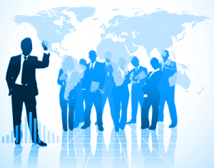 Image of business people with map of the world overlay